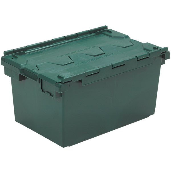 Superieur 10083 LC3 Crate In Red Plastic Storage Box With Hinged Lid In Green ...