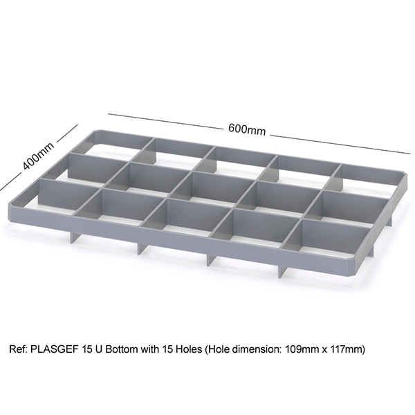 ref plasgef u economy range glass dividers bottom