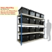 Ref: RRB/18/21/07/4 Heavy Duty Shelving Bay with 16 x LC3-P/Black (80 Litre) Attached Lid Containers
