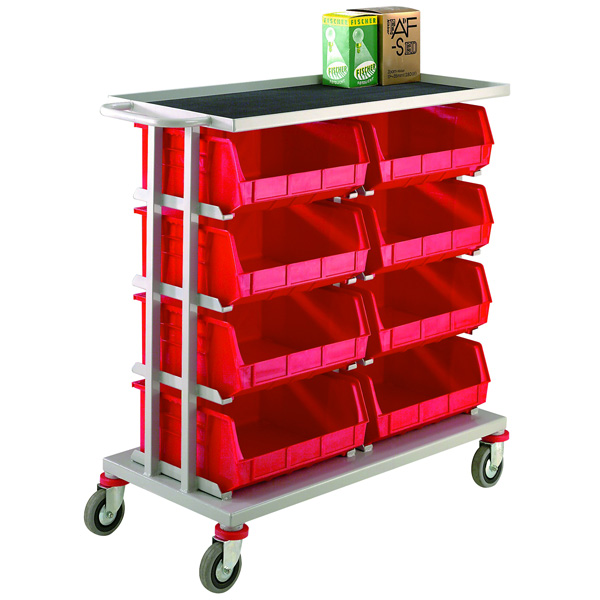 8 Container Distribution Trolley Plastic Containers