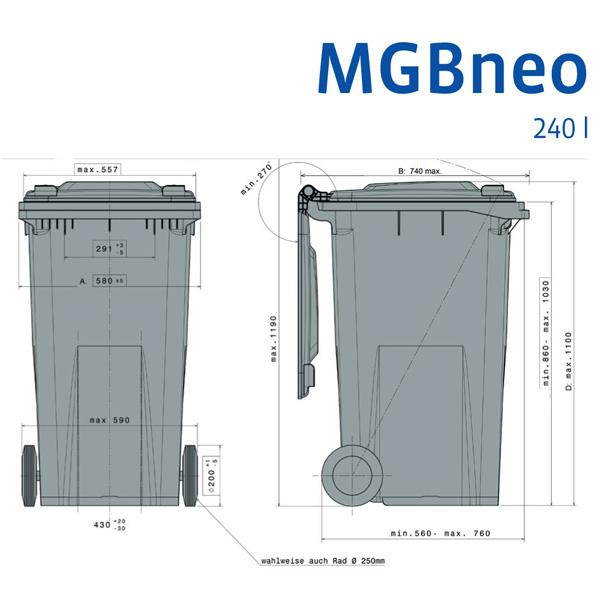 Wheelie Bin 240 Litre With 2 Wheels Plastor