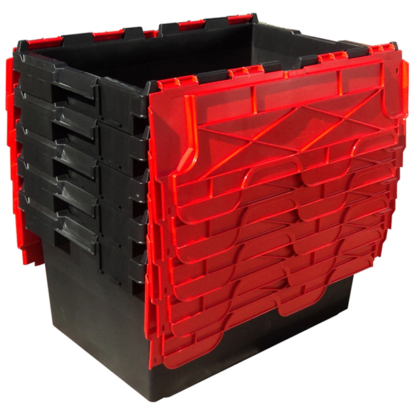 Ref Lc3 P Black Red Large Recycled Plastic Hinged Lid