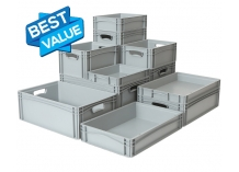 Basicline Euro Stacking Containers with Solid Sides