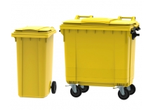 Yellow Wheelie Bins - commonly used for clinical and potentially hazardous waste