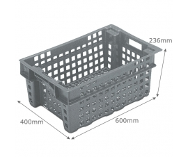 Perforated 37 litre container crate