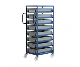 Ref: CT208P Mobile Tray Rack complete with 8 x Euro Containers 118mm high (200kg)