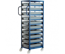 Ref: CT210P Mobile Tray Rack complete with 10 x Euro Containers 118mm high (200kg)