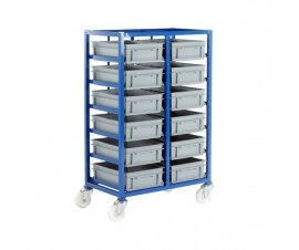Ref: CT216P Small Parts Storage Tray Rack complete with 12 x Euro Containers 120mm high (200kg)