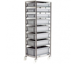 Ref: CT272 Adjustable Mobile Tray rack complete with 8 x Euro containers, mixed heights (200kg)