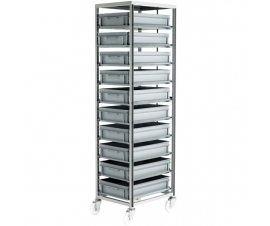 Ref: CT271 Adjustable Mobile Tray rack complete with 10 x Euro containers 120mm high (200kg)