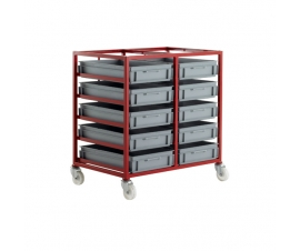 CT405P Mobile Tray Rack With 10 Euro Containers