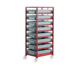 CT408P Mobile Tray Rack With 8 Euro Containers
