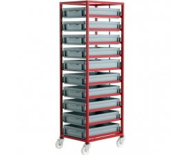CT410P Mobile Tray Rack With 10 Euro Containers