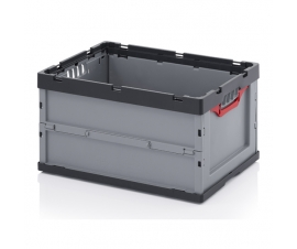 Foldable plastic container fully open