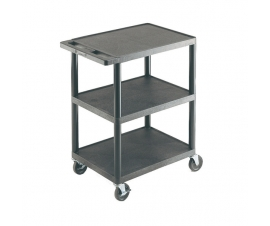 Plastic Shelf Trolley with 3 Flat Shelves