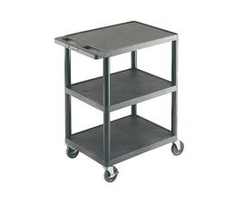 Plastic Shelf Trolley with 3 Flat Shelves