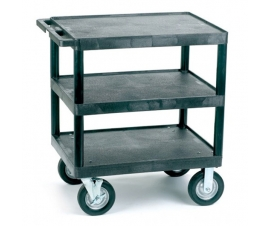 Heavy Duty Plastic Shelf Trolley with 3 Flat Shelves and Large Wheels