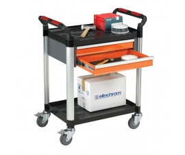 Ref: PLAS WHTT2SS/D2 2 shelf trolley with 2 drawers (Load capacity 100kgs)