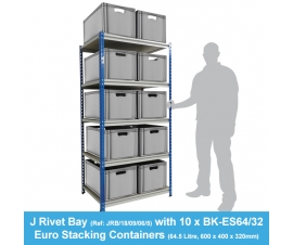 Shelving Bay with 10 x BK-ES64/32 (64.5 Litre) Euro Stacking Containers