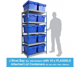 Shelving Bay with 10 x PLAS55LE (55 Litre) Attached Lid Containers