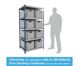 Shelving Bay with 8 x BK-ES64/32 (64.5 Litre) Euro Stacking Containers