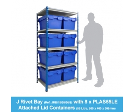 Shelving Bay with 8 x  PLAS55LE (55 Litre) Attached Lid Containers