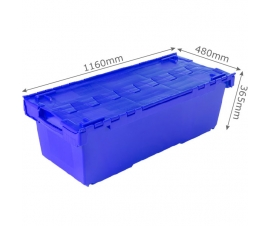 Blue Large Attached Lid Plastic Container