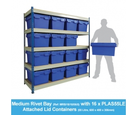 Shelving Bay with 16 X PLAS55LE (55 Litre) Attached Lid Containers