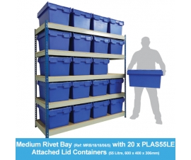 Shelving Bay with 20 x PLAS55LE (55 Litre) Attached Lid Containers