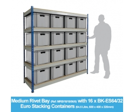 Shelving Bay with 16 x BK-ES64/32 (64.5 Litre) Euro Stacking Containers