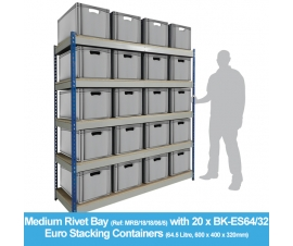 Shelving Bay with 20 x BK-ES64/32 (64.5 Litre) Euro Stacking Containers