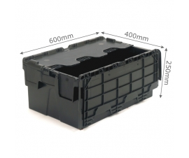 Black 40 litre plastic containers with hinged lids