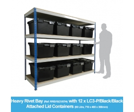 Heavy Duty Shelving Bay with 12 x LC3-V/Plastor/Black (80 Litre) Attached Lid Containers