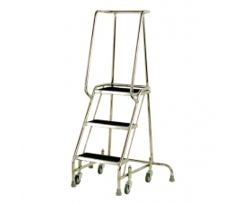 S215 Stainless Steel Mobile 3 Steps with Grab Rail