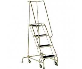 S216 Stainless Steel Mobile 4 Steps with Grab Rail