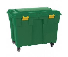 Green storage trunk with wheels