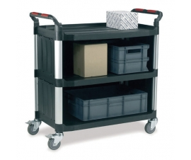 Ref: PLAS WHTT3SL/SB 3 shelf utility trolley sides/back enclosed (load capacity 200kgs)