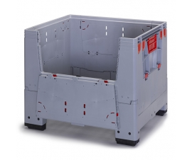 Large foldable pallet box with access doors