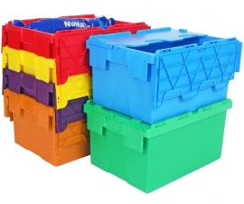 Coloured and 2 Tone Green Attached Lid Containers Range