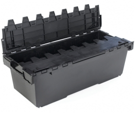 Large Plastic Containers and Crates with Attached Lids