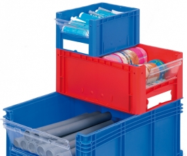 Open End Euro Picking Container Bins in Blue or Red