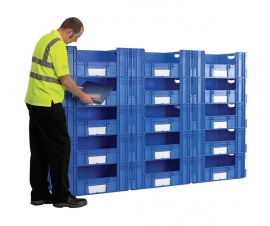 12 x Large Euro Plastic Containers with Open Sides to Create 600mm Deep Pick Wall
