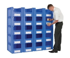 Pick wall of 20 medium sized Euro containers with open fronts.
