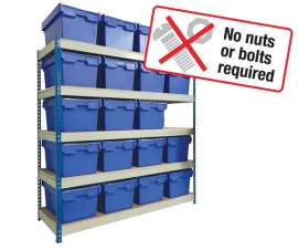 Shelving with Attached Lids Containers, Moves Crates and Archieve Boxes