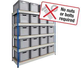 Shelving Bay with Euro Stacking Containers