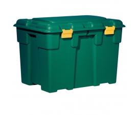 Plastic Storage Trunk with Lid - Green with Yellow Hinges