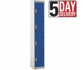 4 Door Steel Locker - 300mm depth in blue