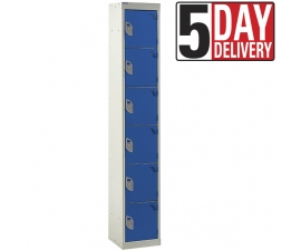 6 Door Steel Locker - 300mm depth in blue