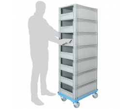 Order Picking Trolley with 7 x Open Front Euro Containers