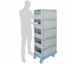 Order Picking Trolley with 5 Open Front Euro Containers